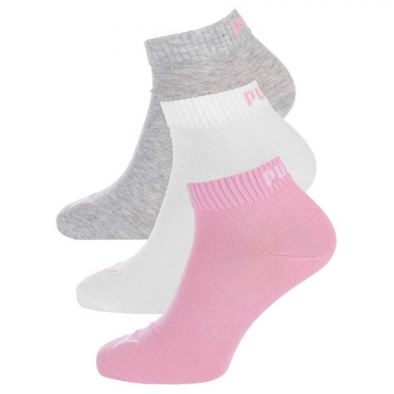 PU-2710-80001-395-Tris calzini Quarter donna-rosa grigio bianco